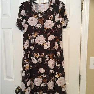 Lularoe Rare Brown Floral Medium Jessie Dress -EUC